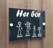 Norwegian Black Door Plaque Personalised Stick Family House Door Sign New Design