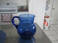 "Vintage Cobalt Blue Glass Water Pitcher Applied Handle 7 1/2"" Tall MEXICO"
