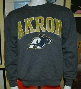 University of Akron Zips Crew Sweatshirt Champion Athletic Eco Fleece Small OH