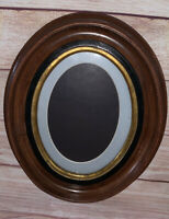 Antique Victorian OVAL Walnut Deep Well Picture Frame Ebony and Gold Gilt