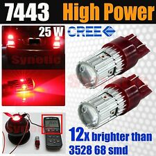 2x 7443 7444 High Power 25W Cree Chip Bright Red Brake Tail Stop LED Light Bulbs