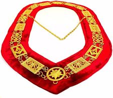 REGALIA MASONIC GRAND LODGE METAL GOLD CHAIN COLLAR RED VELVET TOP Quality