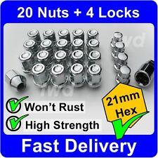 24 x ALLOY WHEEL NUTS & LOCKS FOR NISSAN TERRANO FORD MAVERICK BOLT LUGS [M5b]