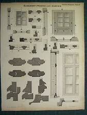 1858 CARPENTARY JOINERY ARCHITECTURE PRINT ~ CASEMENT FRAMES & SASHES WINDOWS