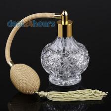 Clear Crystal Glass Perfume Bottle Atomizer Yellow Long Tassel Spray Pump 80ml