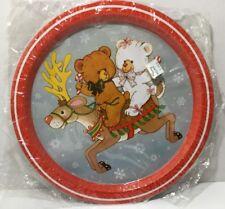 Vintage Tin Metal CHRISTMAS tray REINDEER HONG KONG, CANDY CANE, TEDDY BEARS