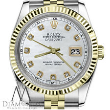 Men's Rolex 36mm Datejust 2 Tone White MOP Mother of Pearl Dial with Diamond