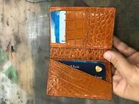 Crocodile Leather Credit Card Holder DOUBLE SIDE Genuine Alligator BLUE / ORANGE