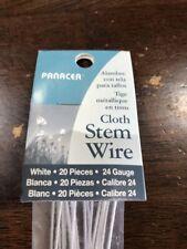 "Floral - White Cloth Covered Stem Wire 24 Gauge 18"" 20/Pkg - lot 12pkgs"