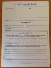 Vehicle Deposit Form, Car Deposit Pad, Used Car Deposit Book,