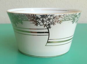 VINTAGE T.F.&S. ART DECO CREAM GOLD OPEN SUGAR BOWL MADE IN ENGLAND 1942-1947