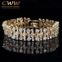 Luxury Cubic Zirconia Big Wide Wrap Bracelet Bangles African Nigerian Gold Color