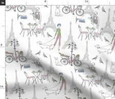 New listing Paris Cafe Scene Pastel Spoonflower Fabric by the Yard