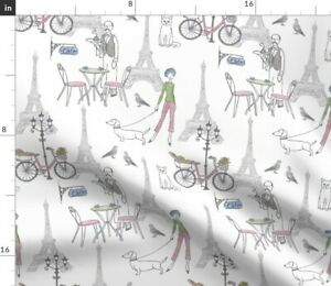 Paris Cafe Scene Pastel Spoonflower Fabric by the Yard