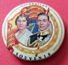 1937 Coronation King George VI Queen Elizabeth Souvenir pin back button