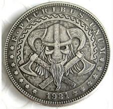 New Hobo Nickel 1921 Dollar Skull Viking Crossbones Axes Skeleton Casted Coin
