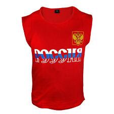 Debardeur rouge, blanc, bleu, T-shirt  l'aigle bicéphale et l'inscription RUSSIE