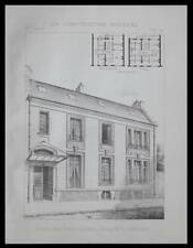 PARIS, HOTEL 13 RUE DUROC - 1896 - PLANCHE ARCHITECTURE - BOILEAU