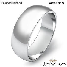 7mm 18k White Gold Women Wedding Solid Band Dome Plain Ring 7.3gram Size 7-7.75
