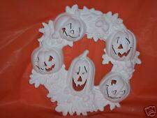 Ceramic Bisque Ready to Paint Pumpkin Wreath faces cut out
