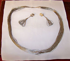 """Vintage 30"""" Navajo Liquid Sterling 50 strand necklace and 20 Strand Earrings"""