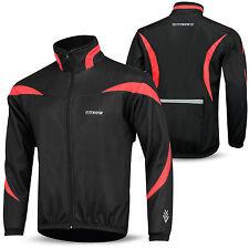 Mens Cycling Jacket Winter Thermal Fleece Windproof Windstopper Long Sleeve Black / Red 2xl