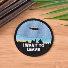 "Embroidery  ""i want to leave""  iron on patch badge hat jeans fabric applique SEA"