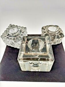 Vintage Collectible Glass Inkwells - Lot of 3