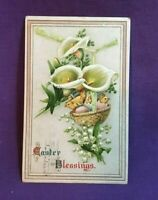 *1913 Embossed Easter Postcard EASTER BLESSINGS lily flowers and chicks