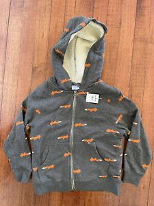 Hanna Andersson Boys Sherpa Lined Fox Hoodie Zip Up Sweatshirt Size 110cm 5