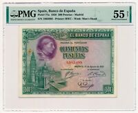 SPAIN banknote 500 Pesetas 1928 PMG AU 55 About Uncirculated