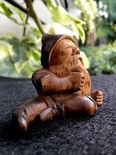 Antique Black Forest Original- Miniature Wooden Figural Gnome Elf -Hand Carved