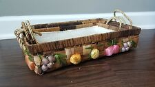 Vintage Raffia Straw Wicker Picnic Nesting Stacking Basket Fruit Handles Flower