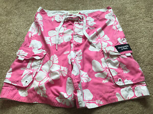 Abercrombie & Fitch Redfield Mountain Swim Board Shorts Pink Floral LARGE £19.99