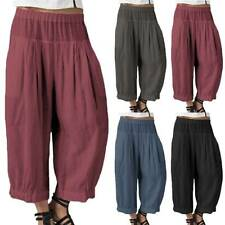 Womens Elastic High Waist Cotton Wide Leg Harem Pants Boho Casual Loose Trousers