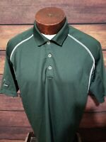 Nike Dri Fit Mens Green White Short Sleeve Golf Polo Shirt