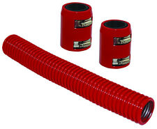 "12"" Red Stainless Flexible Radiator Hose Kit W/ Billet Clamp Covers Chevy Ford"
