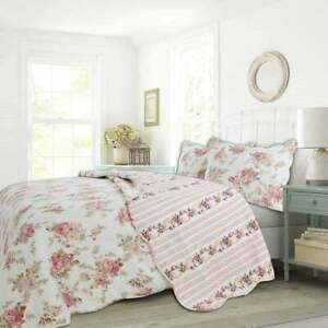 NEW! ~ COZY SHABBY CHIC ELEGANT PINK RED IVORY WHITE ROSE SOFT COUNTRY QUILT SET