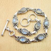 "Blue Fired RAINBOW MOONSTONE 8 Gems Bracelet 8"" ! Silver Plated Jewelry"
