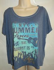 AEROPOSTALE Womens NYC Summer Seris Blue T Shirt Loose Fit Top Size M