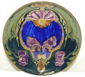 Antique 1890s Rozenburg Den Haag Dutch Art Pottery Plate w/ Purple Poppy Flowers