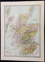 1870 John Bartholomew Large Antique Map of Scotland