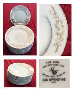 VINTAGE International Silver Co Dinnerware SPRINGTIME #326 Bread Plates Set of 9