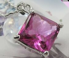 Sensational 16x16mm Orchid Red Ruby 18K WhiteGold Plated Pendant Necklace Chain