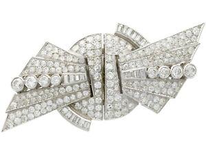 Art Deco 10.95ct Diamond and Platinum Duette Double Clip Brooch