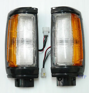 Black Front Corner Light Pair for 87-96 Mitsubishi Dodge Ram D 50 Mighty Max 88