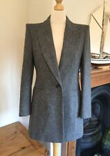 Zara Grey Herringbone Lambswool Buttoned Frock Coat Blazer Jacket M UK12