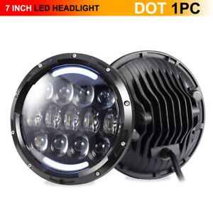 "Black 7"" Inch LED Headlight Round Halo Angel Eyes For Jeep Wrangler JK CJ TJ LJ"