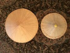 2 Vintage Asian Conical Straw Bamboo Hat Chinese Coolie Rice Paddy Farmer 👒
