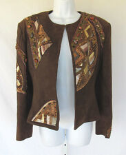 DESIGNER JEAN CLAUDE JITROIS BEADED STONED SUEDE LEATHER JACKET MOCHA FRANCE